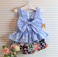 Wholesale Korean Cute Tops - Hot summer New children sets Kids Korean Style Fashion Set Cute Bow Tank Top+Floral Shorts 2 Pieces Set A5908
