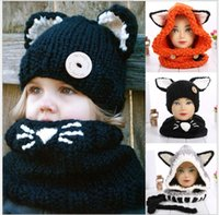 Wholesale Kids Knit Cat Beanie - Cute Boys Girls Fashion Fox Cat Ear Winter Windproof Hats And Scarf Set For Kids Knitted Crochet Headgear Soft Warm Hat Baby Winter Beanies