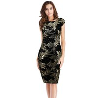 Wholesale sequined dresses online - Women Clothing Sexy Summer Cap Sleeve Leaf Sequined Patchwork Backless party evening elegant dress robe femme moulante