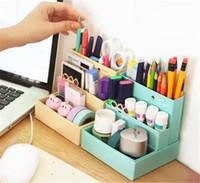 kağıt depolama için kutular toptan satış-DIY Kağıt Kurulu Saklama Kutusu Masası Dekor Kırtasiye Makyaj Kozmetik Organizatör