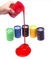 fass schleim spielzeug großhandel-PrettyBaby Festival Neuheit Kinder Erwachsenen Spielzeug Ölfässer Trick Farbe Fass Schlamm Aprilscherz Tag Halloween Gag knifflige Spielwaren versandkostenfrei