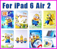 Wholesale Despicable Flip Case - For iPad 6 Air 2 9.7'' case Cartoon Despicable Me Minions Magnetic Stand Leather Flip Case Cover + a stylus + Free Shipping
