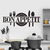 Wholesale Bon Appetit Food Wall Stickers Kitchen room Decoration Diy Vinyl Adesivo de Paredes Home Decals Art Posters Papers