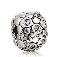 925 steril gümüş düğme toptan satış-Kristal düğme klip ile 925 ayar gümüş charm Avrupa gümüş boncuk bilezik DIY moda takı