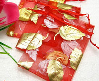Wholesale Red Favor Bag 12cm - 2014 new 100 Red Gold Leaf Organza Jewelry bag Wedding Favor bags 9*12cm XF for wedding party gift