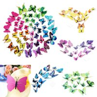 Wholesale 3d Paper Butterflies - 12Pcs a set,10Set a lot .Unique DIY 3D Butterfly Landscape Wall Sticker Art Decal PVC Paper for Room Decor