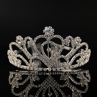 Wholesale Cheap Rhinestone Combs - Cheap Silver Crystals Wedding Tiaras Beaded Bridal Crowns Rhinestone Head Pieces Cheap Comb Hair Accessories Pageant Tiara