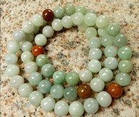 "Wholesale Certified Jade - Certified 3 Color Natural Grade A Jade Jadeite 8mm Beads Necklace 20""inches Long"