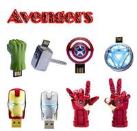 Wholesale Avengers Pen Drive - Avengers 8GB USB 2.0 Flash Drives Iron Man Captain America Shield Thor Hulk Iron man hand USB Memory Stick Pen Drives 2-16GB