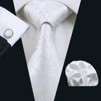 Wholesale fancy cufflinks for sale - Group buy Stylish White Ties Set Fancy Pattern Pocket Square Cufflinks Jacquard Woven Business Formal Work Meeting Neck Tie Set N