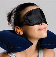 Wholesale Eyes Inflatables - Wholesale factory price 3in1 Travel Office Set Inflatable U Shaped Neck Pillow Air Cushion + Sleeping Eye Mask Eyeshade + Earplugs