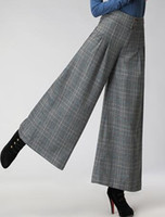 Wholesale Size Xs Pants For Women - Wide leg pants for women plus size high waist loose winter autumn spring plaid black casual capris new fashion trousers female seb0706