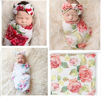 Wholesale Thin Baby Sleeping Bag - Newborn Baby Rose Flower Sleeping Bags+Headband Set Thin Cotton Quilt for Infant Euro America INS Baby Girls Floral Swaddling