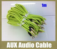 Wholesale Tablet Phone General - AUX audio cable round with metal head 1m audio cord male to male 3.5mm for general phone iphone ipad galaxy car tablet PC colorful CAB036