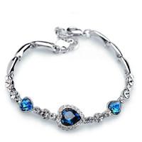 Wholesale Heart Ocean Jewelry Set - Fashion heart of the ocean bracelet love heart-shaped peach heart bracelet Women Vintage Charm Bracelet women's jewelry