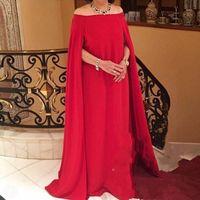 wrap jacket robes de soirée achat en gros de-Robe de soirée longue en mousseline de soie rouge à épaules dénudées Robe de soirée longue en mousseline de soie à manches longues
