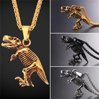 Wholesale Dinosaur Gold Pendant - U7 Jewelry Necklace Pendant Tyrannosaurus Rex Fossil Skeleton Stainless Steel Gold Black Gun Plated Steampunk Jewelry Dinosaur Necklace