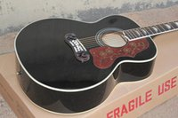 Wholesale Acoustic Jumbo - On Sale Top Quality J200 Guitar in Black Spruce Top Rosewood Back & Sides Acoustic Guitar Golden Hardware Free Shipping