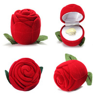 Wholesale Rose Jewelry Boxes - Novelty Red Rose Ring Box For Engagement Wedding Earrings Pendants Jewelry Case