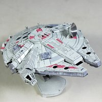 Wholesale Block Jigsaw Puzzles - 3D Metal Puzzle Millennium Falcon Colorful Assembly Earth Model Kits Laser Cut Toy Jigsaw Artwork DIY Building Block Gift for Adults