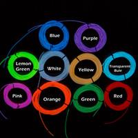 bateria de luz de corda de néon venda por atacado-2016 Ultra Brilho Decoração Flexível Neon Light 3 M 3 V Corda de Fio EL Dez Cores Opcionais Tiras de LED Neon Tubo de Luz 2 * AA Alimentado Por Bateria