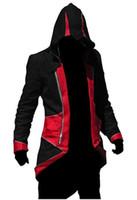 толстовки hoodies assassins свободная оптовых-Ассассинс Крид 3 III Коннер Kenway балахон пальто куртка косплей костюм Бесплатная доставка