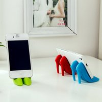 Wholesale 3d Decorations For Mobile Phone - Wholesale-Mobile Phone Holder Mini Silicone High Heeled Shoes Stander 3D Home Decoration Holders For iphone 6 6s Samsung Huawei HTC Xiaomi
