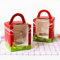 Wholesale Wholesale Cupcake Christmas Boxes - Free Shipping 200pcs lot cupcake Candy Cheese Mousse Cake Box with Tow Muffin Box with handle PVC window box Christmas
