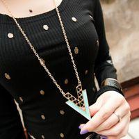 Wholesale Elegant Fashion Sweater - 2014 Hot Korean 2 colors Fashion Elegant Hollow Simple Triangle Irregular Geometry Necklace Sweater Chain Statement Jewelry X8599