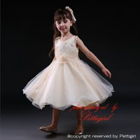 Wholesale Tutus For Girls Low Price - Pettigirl Top Sale Beige Princess Tutu Dresses For Girls With Sleeveless Party Lace Ball Gown Low Price Baby Kids Clothes GD80905-18