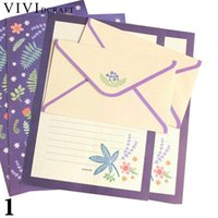 бумажные наборы оптовых-Wholesale- Vividcraft Korean Stationery Kids Gift Envelope Finely Flower Animal Letter Pad Set Letter Paper+Envelopes Sets Writing Paper