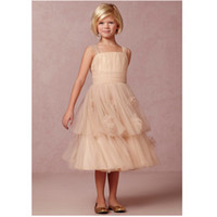 Wholesale Stylish Dresses For Girls - 2017 New Stylish Tulle Flower Girl Dresses with Bow Communion Dresses Pageant Dress for Girls Vestido De Daminha