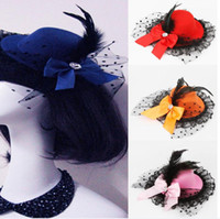 Wholesale Burlesque Fascinator - Hot Bow Hair Clips fashion new Lace Feather Top Hat Fascinator Burlesque Club Party Hat for women wholesale 10 colors