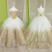 Wholesale Little Princess Dresses Free Shipping - Princess Little Flower Girl Dresses Cap Sleeves Gold Applique Kids Formal Wear Lace Up Free Shipping Girls Pageant Dresses