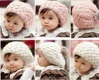 alt gehäkelt großhandel-Winter Faux Kaninchenfell stricken Baby Mütze Kinder Hut für Neugeborene 3-36 Monate altes Baby Grils, häkeln Mütze Enfant, Chapeu Infantil