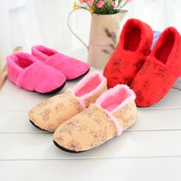Wholesale Lightweight Women Slippers - Wholesale- Free Shipping New High Quality Chinese Style Flower Embroidery Indoor Floor Slippers Lightweight Noise-Free Quiet Home Shoes