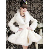 Wholesale Skirted Trench - 2016 New Long Fur Coat Fashion Women Winter White Coat Dress Faux Fox Fur Collar Elegant Long Sleeve Warm Trench Coat Outerwear W80