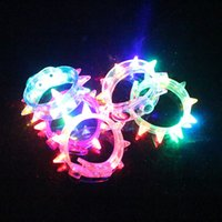Wholesale Led Red Blinking - Night Glow Stick Flashing Bracelet Light Sticks Blinking Spiked Bracelets Festival DIY Led Party Kids Toy