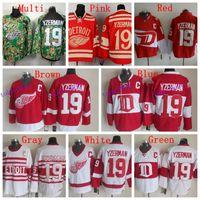 Wholesale Ice Hockey Jersey Detroit - High Quality Mens Detroit Red Wings Jerseys #19 Steve Yzerman Winter Classic CCM Vintage Ice Hockey Jersey,Accept Customized
