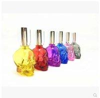 lâmpadas de vidro fosco venda por atacado-Acessórios de cachimbo de água por atacado - Crânio de cristal de cor [escrito] lâmpada de álcool selo de vidro fosco pequeno portátil lâmpada de álcool fogo