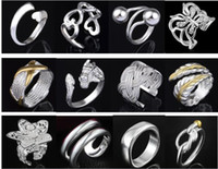 Wholesale Indian Fashion Set Low Price - (Jewelry Factory) Beautiful mixed 50pcs Charm 925 silver Ring With Side Stones jewelry Lowest price Fashion 1344