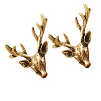 Wholesale Golden Studs - Fashion vintage antique golden copper stud earrings Antlers deer head ear hammer free shipping