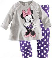 Wholesale Duck Sets - 6 sets lot Baby girl's boy's Cars Hello Kitty Donald Duck pajamas suit children cartoon pyjamas kids sleepwear homewear