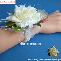 Wholesale Wholesale Corsage Silk Flowers - Wedding or Prom Wrist Corsage with bracelet, Silk Rose boutonnieres and corsages, decorative flowers& wreath for wedding