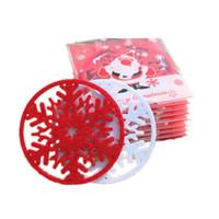 Wholesale felt placemats - Wholesale- 100PCS Snowflake Bowl Pad Hair Felt Cup Mat Heat Protection Table Mat Cup Pads Cup Coaster Placemats Christmas Table Decoration