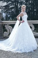 Wholesale Wedding Dress Simple Ballgown - Vintage Wedding Dress 2016 Straps Straight Across Ballgown Wedding Dresses Cathedral Train Zipper Back Lace Applique Sweet 16 Gowns In White