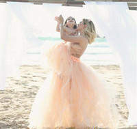 Wholesale Strapless Hourglass Wedding Dress - 2016 Tutu Skirt Mother Daughter Dresses Coral Summer Beach Cheap Wedding Gowns Fluffy Short Family Clothing Free Shipping