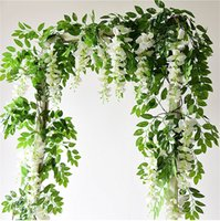 Wholesale Artificial Ivy Wall - 2PC Lot Artificial Flowers 6.6ft Silk Wisteria Ivy Vine Hanging Garland Wedding Party Supplies Christmas Home Garden Decoration Fake Flowers