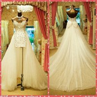 Wholesale Luxurious Bowknot Wedding Dress - Luxurious Beaded Crystal Sheath Wedding Dresses Bowknot Long Tulle Chapel Train 2016 Amazing Bridal Gowns Bowknot Back Custom Online Top One