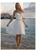 Wholesale Corset Beach Wedding Dresses - Cheap White Beaded Tulle Knee Length Beach Wedding Dresses 2016 Summer Sweetheart Pleated A Line Short Corset Bridal Gowns